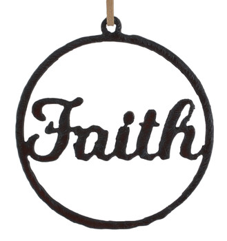 Rustic Cut Steel Circle with Faith Ornament