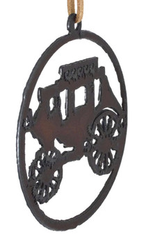 Rustic Cut Steel Circle Stagecoach Ornament side