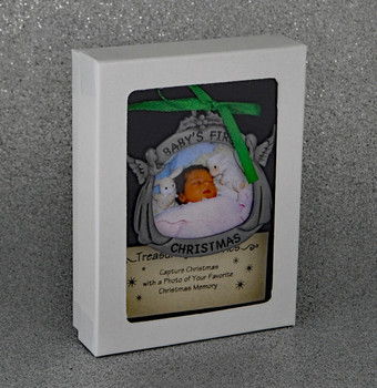 Angels Baby's First Christmas Picture Frame Metal Ornament with gift box