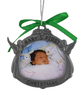 Angels Baby's First Christmas Picture Frame Metal Ornament