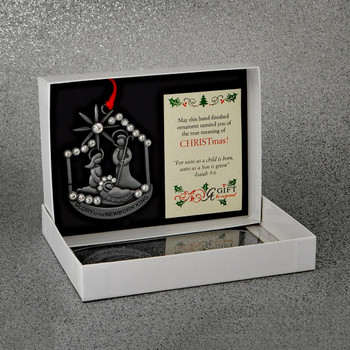Glory Newborn King Holy Family with Halos Metal Ornament in gift box