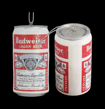 Small Budweiser Beer Can Ornament front side
