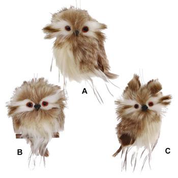 Small Brown-White Owl Ornament