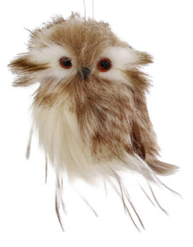 Small Brown-White Owl Ornament style a front