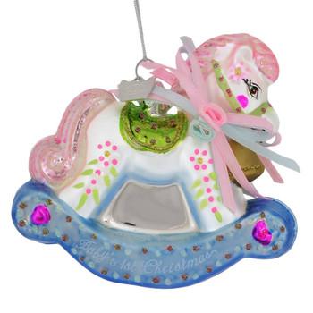 Precious Babies 1st Christmas Rocking Glass Horse