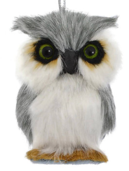 Gray Plush Animals - Owl Ornament