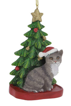 Cat /& Fish Christmas Ornament Gold Cat with Catch Holiday Decoration Fun Hand Carved Wood Tree Ornament made in Indonesia Fishing Cat