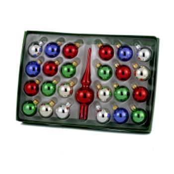 "Mini Tree Topper and Multi-Color Glass Ornaments 25 piece Set, 5 1/2"" topper, KAH1547"