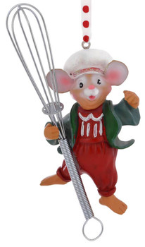 Kitchen Mouse Ornament whisk front