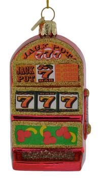 Lucky 7s Slot Machine Glass Ornament