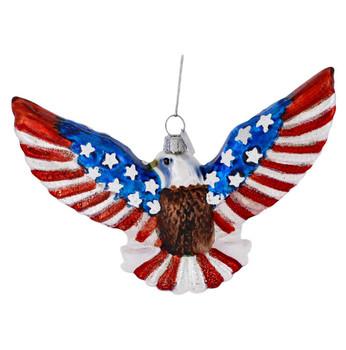 God Bless America Bald Eagle Glass Ornament back