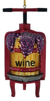Wine Press Glass Ornament