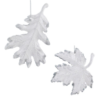 White with Silver Glitter Leaf Ornament
