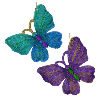 Glittered, Beaded Butterfly Ornament