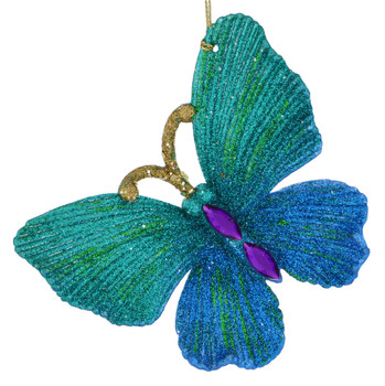 Glittered, Beaded Butterfly Ornament blue