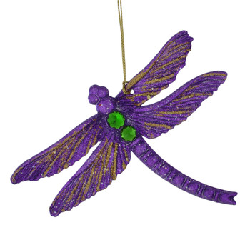 Glittered, Beaded Dragonfly Ornament purple