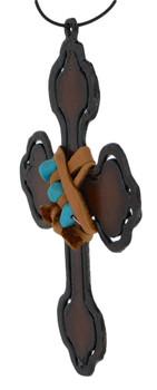 Rustic Cut Steel Cross Ornament embellished side
