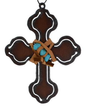 Rustic Cut Steel Cross Ornament embellished