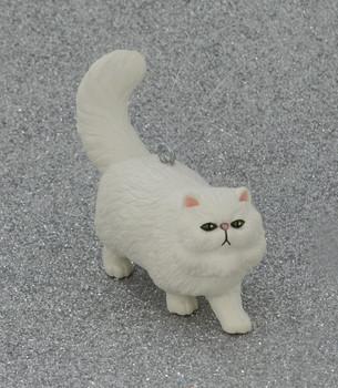 Small White Persian Cat Ornament front