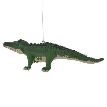 Green Alligator Ornament left