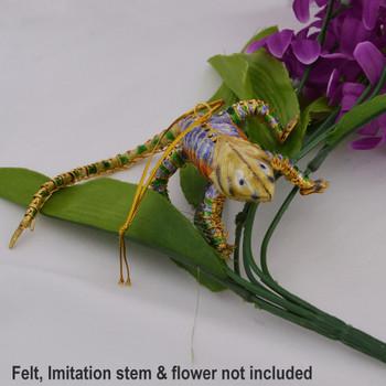 Cloisonne Chameleon Lizard Ornament Golden Purple on imitation flowers