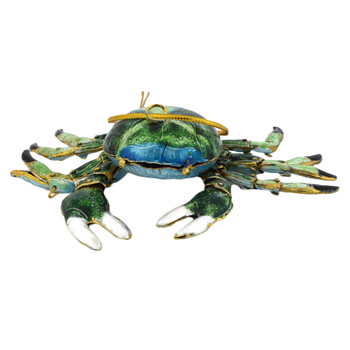 Cloisonne Crab Ornament, Gift - Green front