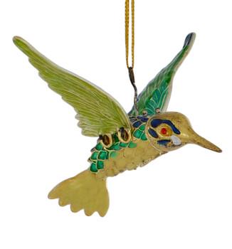 Cloisonne Hummingbird Ornament Flying Blue Green Medium
