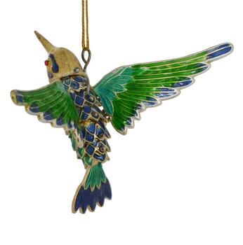 Cloisonne Hummingbird Ornament Flying Blue Green Medium side back