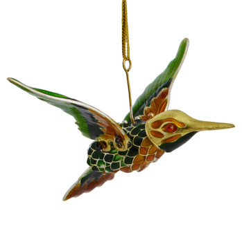 Cloisonne Hummingbird Ornament Flying Green Amber Large angle