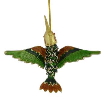 Cloisonne Hummingbird Ornament Flying Green Amber Large pin bent back