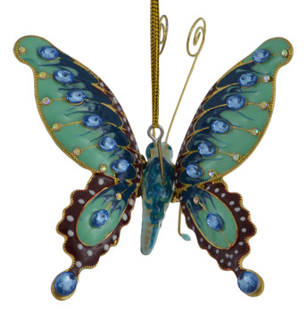 Cloisonne Butterfly Ornament Teal Large