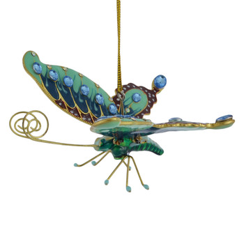 Cloisonne Butterfly Ornament Teal Large side pin straight
