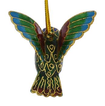 Cloisonne Hummingbird Feeding Ornament Multi color Small  back