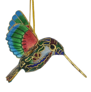 Cloisonne Hummingbird Feeding Ornament Multi color Small  right side