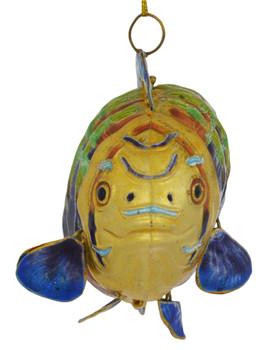 Cloisonne Tropical Fish Ornament front - deep ocean
