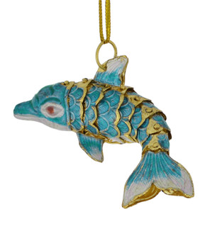 Cloisonne Dolphin Ornament, Light Blue, Small tail turned