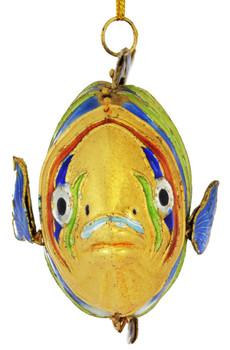 Cloisonne Tropical Wavy Fish Ornament Front