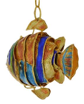 Cloisonne Tropical Fish Ornament Small Golden back