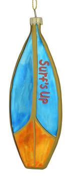 Surfs Up Surfboard Glass Ornament