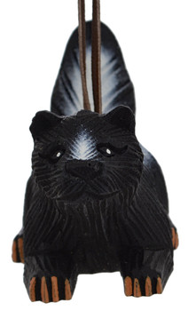 Painted Wood Skunk Ornament front