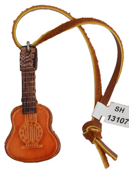 Small Leather Guitar Ornament showing string