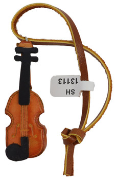 Small Leather Violin Ornament showing string