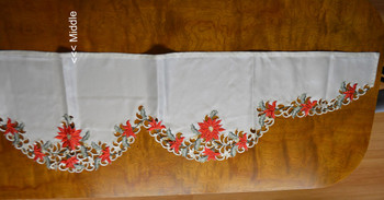 """Off-White Red Poinsettia Flowers Mantle Scarf, 17 x 93"""", SR13090"""