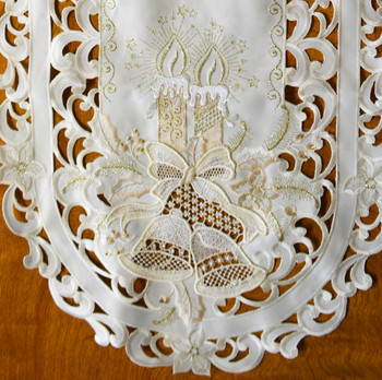 """Off-White with Lace Christmas Candles, Bells Table Runner, 16 x 36"""", SR13091"""