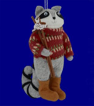 Plush Country Raccoon Ornament