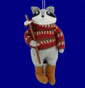 Plush Country Raccoon Ornament front