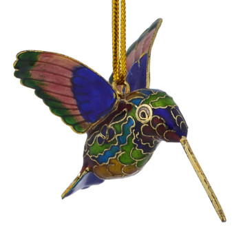 Cloisonne Hummingbird Feeding Ornament
