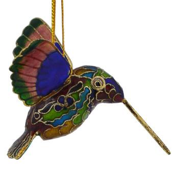 Cloisonne Hummingbird Feeding Ornament right side