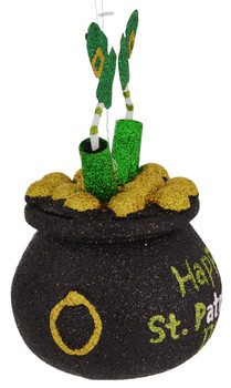Happy St Patrick's Day Pot of Gold Ornament Side