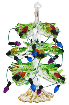 Transparent Tree with Imitation Lights Glass Ornament Side